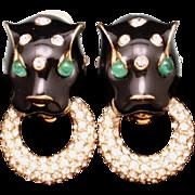 Ciner Big Cat Door Knocker Earrings Rhinestones Enamel Vintage