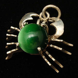 Crab Pendant or Large Charm with Green Moonglow Cab Body