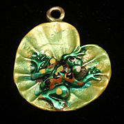 Frog Lily Pad Charm Sterling Silver Enamel Vintage