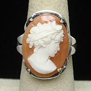 Cameo Ring Sterling Silver Vintage