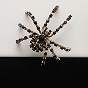 Spider Brooch Pin Black Rhinestones