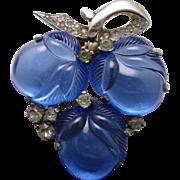 Mazer Fur Clip Pin Vintage Blue Glass