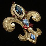 Weiss Fleur-de-Lis Pin Pendant Vintage