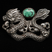 Dragon Brooch Pin Pendant Sterling Silver Large