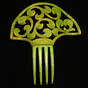 Hair Comb Large Green Vintage