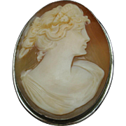 Cameo Pin Pendant with Silver Bezel Vintage