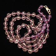Amethyst Necklace Hand-Knotted Strand 14k Clasp