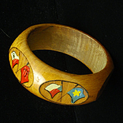 Wooden Bangle Bracelet Flags of Allied Nations circa WW II