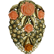 Coral Toned Flower Dress Clip Pin Vintage