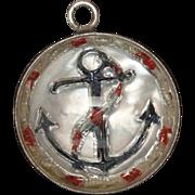 Patriotic Anchor Bubble Charm Sterling Silver Vintage