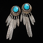 Sterling Silver Turquoise Drop Feather Earrings Vintage American Southwest