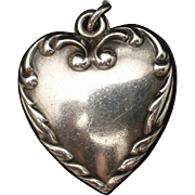 Puffy Heart Charm Vintage Sterling Silver