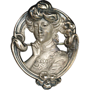 Gibson Girl Cameo Brooch Pin Vintage Sterling Silver