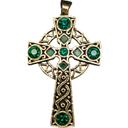 Celtic Cross Pendant Green Stones Vintage by Miracle