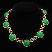 Monet Necklace with Ribbed Green Stones