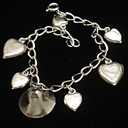 Mini Puffy Hearts Charm Bracelet Sterling Silver