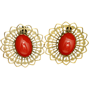 Red Earrings Lotus Flower Design Vintage Clips