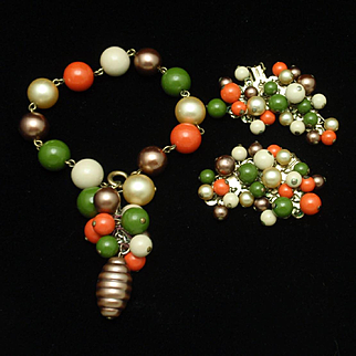 4-Color Beaded Bracelet and Earrings Set Vintage Karu