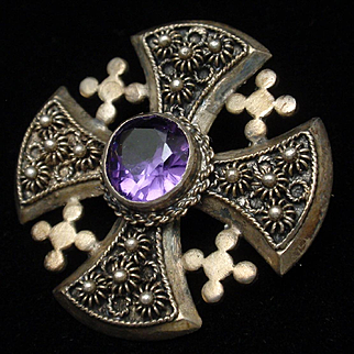 Sterling Silver Amethyst Jerusalem Cross Brooch Pin Vintage Lebanon