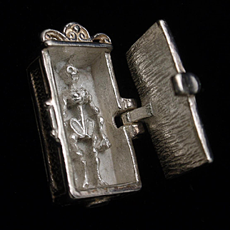 Skeleton in a Closet Charm Sterling Silver Vintage Mechanical