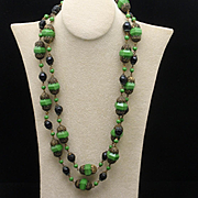 "44"" Long Strand Necklace Green and Black Beads"