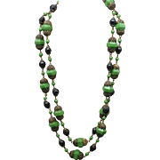 """44"""" Long Strand Necklace Green and Black Beads"""