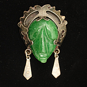 Sterling Silver Green Face with Headdress Pin Pendant Vintage Taxco Mexico