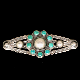 Sterling Silver Turquoise Brooch Pin American Southwest