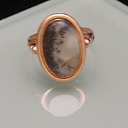 Moss Agate 10k Rose Gold Ring Vintage Size 6.5