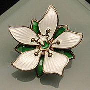 David Andersen Flower Pin Sterling Silver Enamel Norway