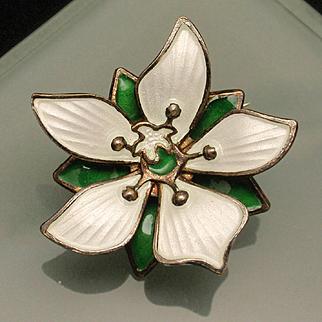 David Andersen Flower Pin Sterling Silver Enamel Norway