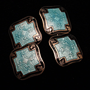 Sterling Silver Enamel Double Panel Cuff Links Vintage