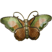 Butterfly Pin Sterling Silver Vermeil Enamel Jens-Erik Jensen for Hroar Prydz Norway Vintage