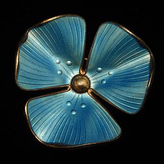 Blue Flower Pin Sterling Silver Enamel Ivar Holth Norway