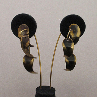 """Art Smith Vintage Brass Drop Earrings 2 1/2"""" Long"""