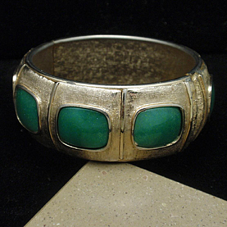 Hinged Bangle Bracelet with Jade Green Glass and Satin Finish Vintage