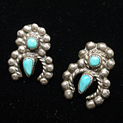 Squash Blossom Earrings Vintage Sterling Silver Turquoise