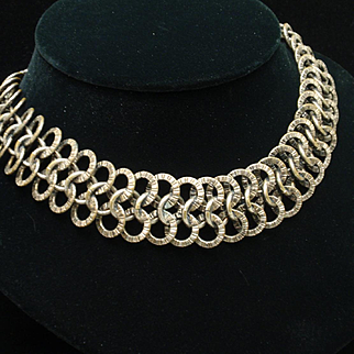 Necklace 3-Rows Hammered Links Vintage