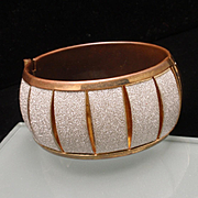 Copper Glitter Hinged Bangle Bracelet
