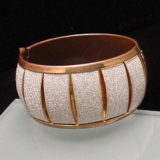 Copper Glitter Hinged Bangle Bracelet