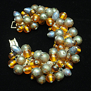 Two Color Large Bead Bracelet Vintage Japan