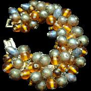 Two Color Large Bead Bracelet Vintage Japan