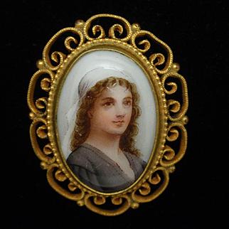 Portrait Pin Hand-Painted on Ceramic Vintage