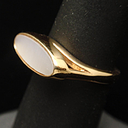 Avon Mother-of-Pearl Gold Tone Metal Ring
