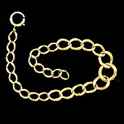 Gold Filled Chased Graduating Links Chain Bracelet for Charms Vintage