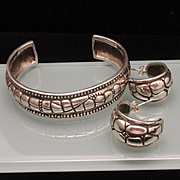 Sterling Silver Cuff Bracelet and Hoop Earrings