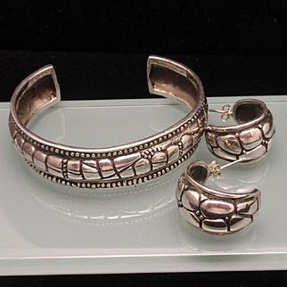 Sterling Silver Cuff Bracelet and Hoop Earrings