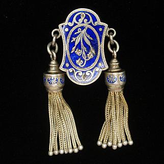 Antique Sterling Silver Enamel Necklace Slide with Tassels
