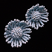 Vintage Baby Blue Seed Beads Earrings from Czechoslovakia