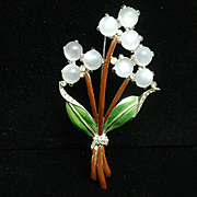 Flower Bouquet Brooch Enamel Moonstones Unsigned Vintage Pin